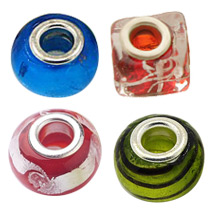 Foil Glass European Beads