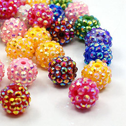 Resin Rhinestone Beads